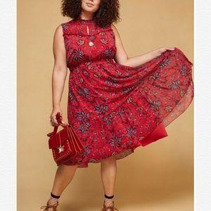 Modcloth Floral Red High Neck Ruffle Midi Dress XL